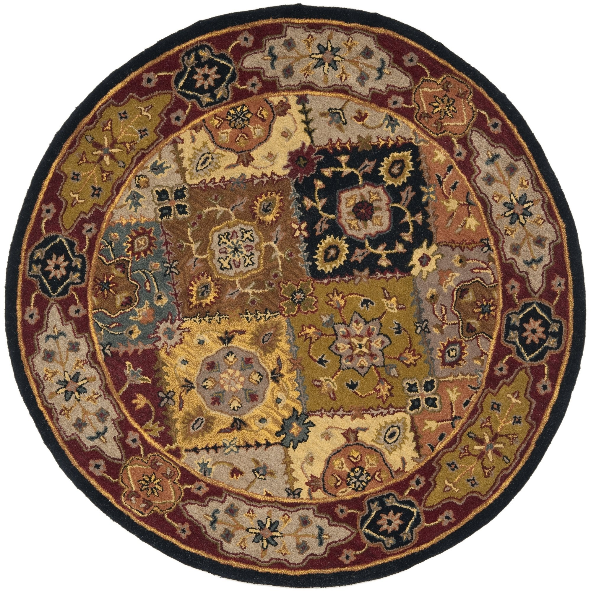 Safavieh Heritage Collection HG512B Handcrafted Traditional Oriental Multi and Red Wool Round Area Rug (8' Diameter)