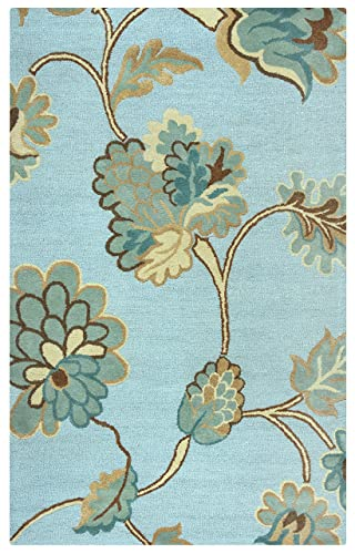 Rizzy Home Dimensions Collection Wool Area Rug, 3 x 5 , Blue Gray Rust Blue Floral