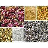 DIY Herbal Sampler-Dried Flowers and Herbs Bonus Dead Sea Salt Great for Bath Bombs, Soap Making, Soaks and Ritual, Lavender Red Rose Chamomile Calendula, Great for Teas All Natural Food Grade Organic