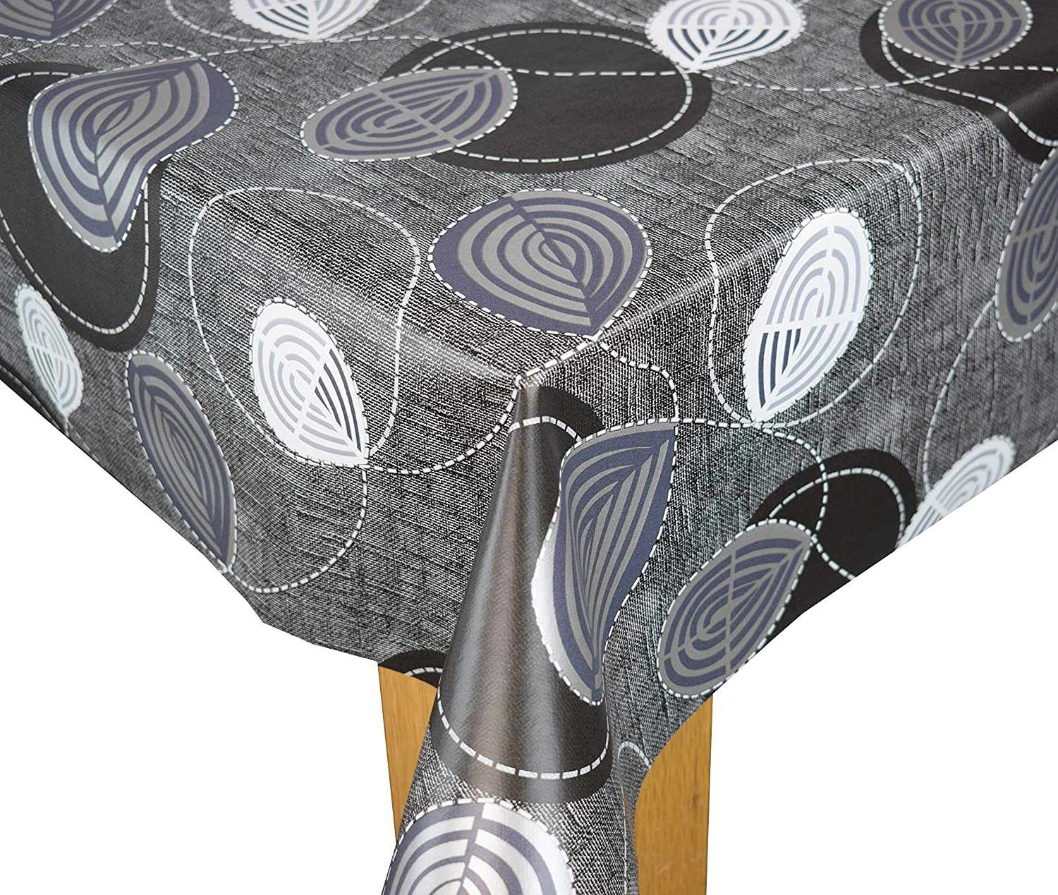 Detroit Charcoal PVC Wipe Clean Tablecloth Karina Home 137cm x 200cm