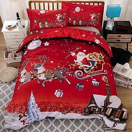 ktlrr christmas bedding set elk santa claus snowflake print duvet cover set microfiber bed cover - Christmas Bedding Sets