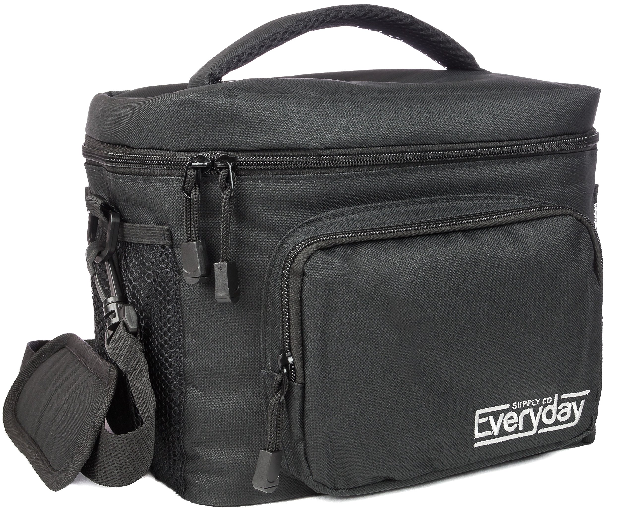 Insulated Lunch Bag for Men | Adult Lunch Box | Lunch Boxes for Men | Cooler Bags | Lunchbox by Everyday Supply Co | Non-Toxic Stain Resistant Nylon | 10 x 7.5 x 9 Inches Black by Everyday Supply Co