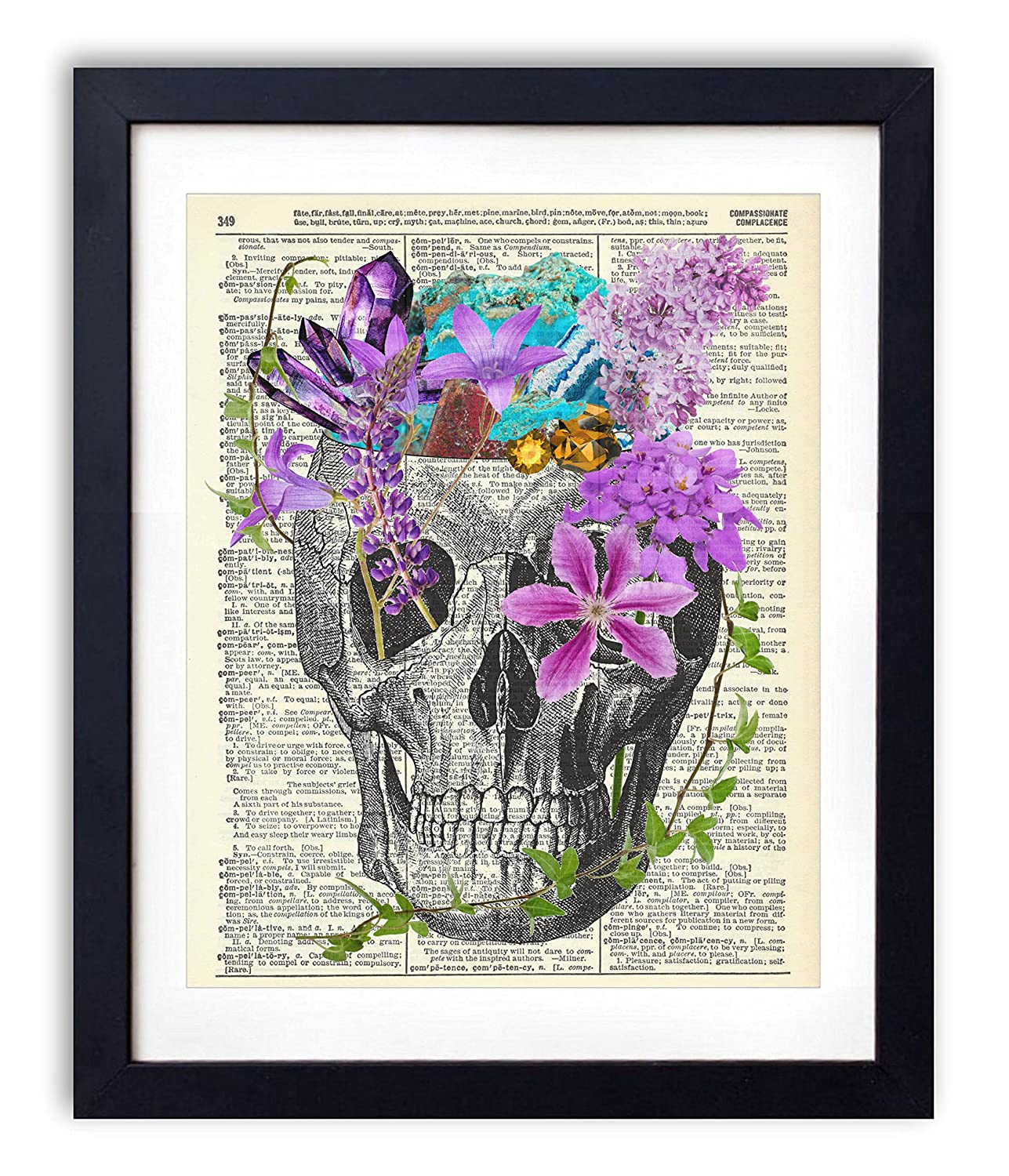 Skull With Flowers and Crystals Upcycled Wall Art Vintage Dictionary Art Print 8x10 inches / 20.32 x 25.4 cm Unframed