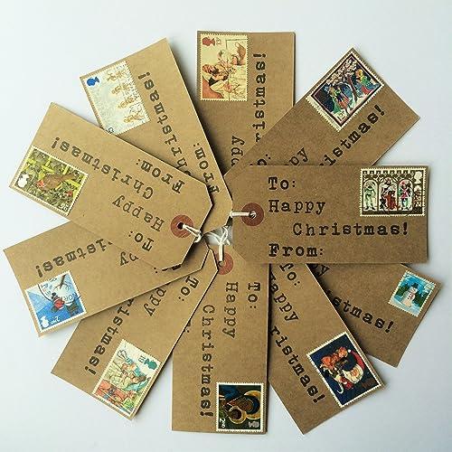 10 x handmade christmas gift tags with vintage christmas postage stamps - Christmas Tags Handmade