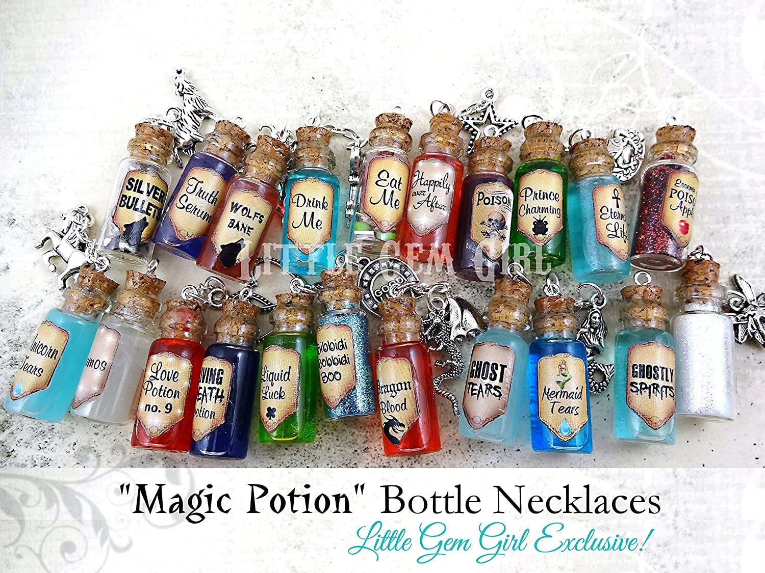7dc5b8ba7bee Amazon.com: Eternal Life Bottle Necklace with Real Moving Liquid ...