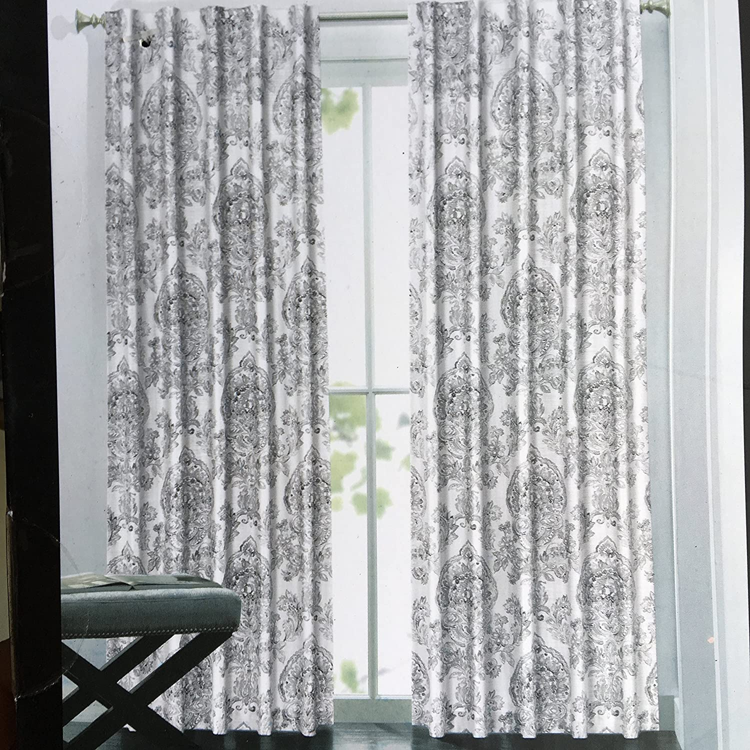 Tahari Window Curtain Panels 52 Inches By 96 Set Of 2 Light Gray And Charcoal