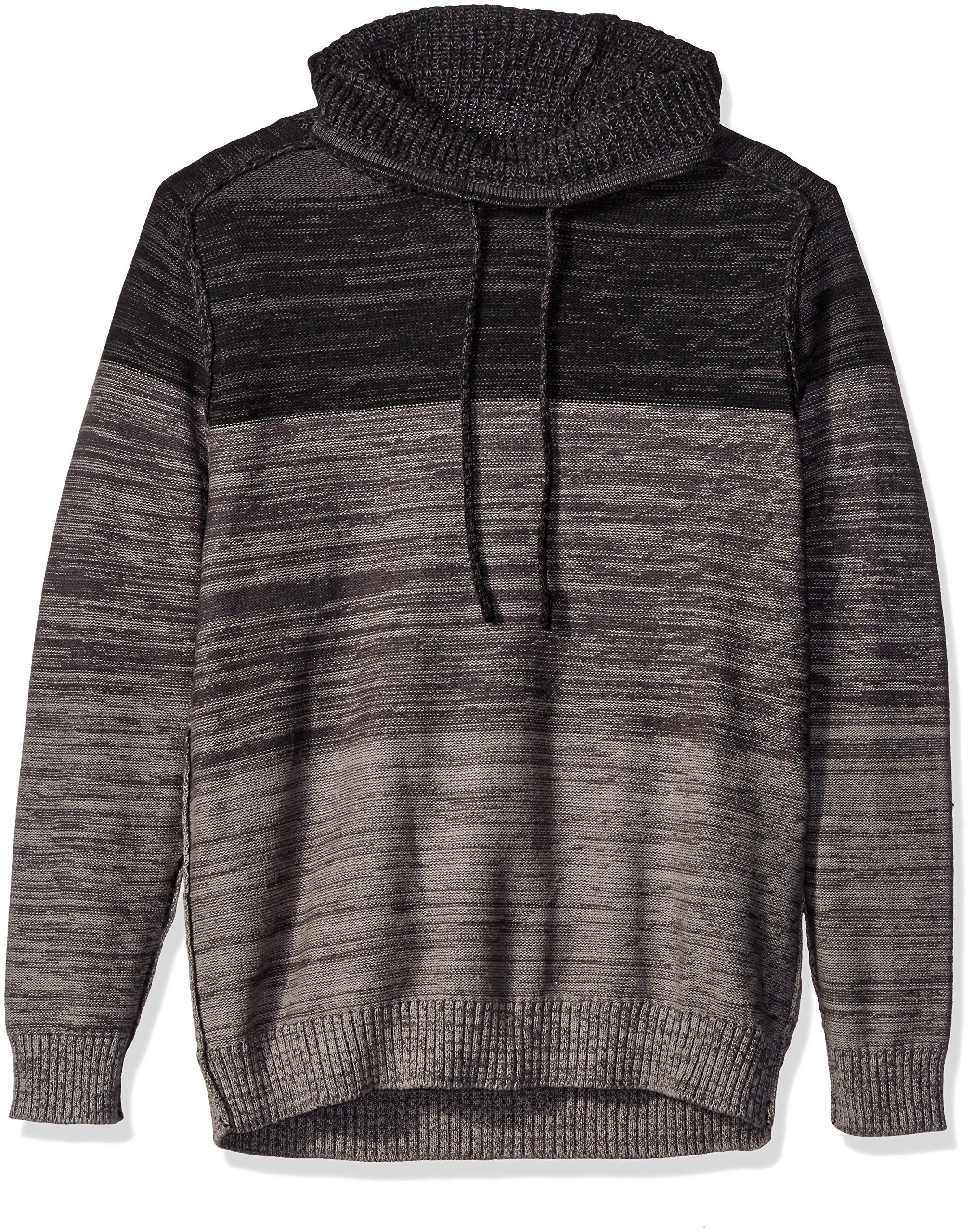 Blizzard Bay Men's Color Block Cowl Neck Sweater, Grey/Black, Large