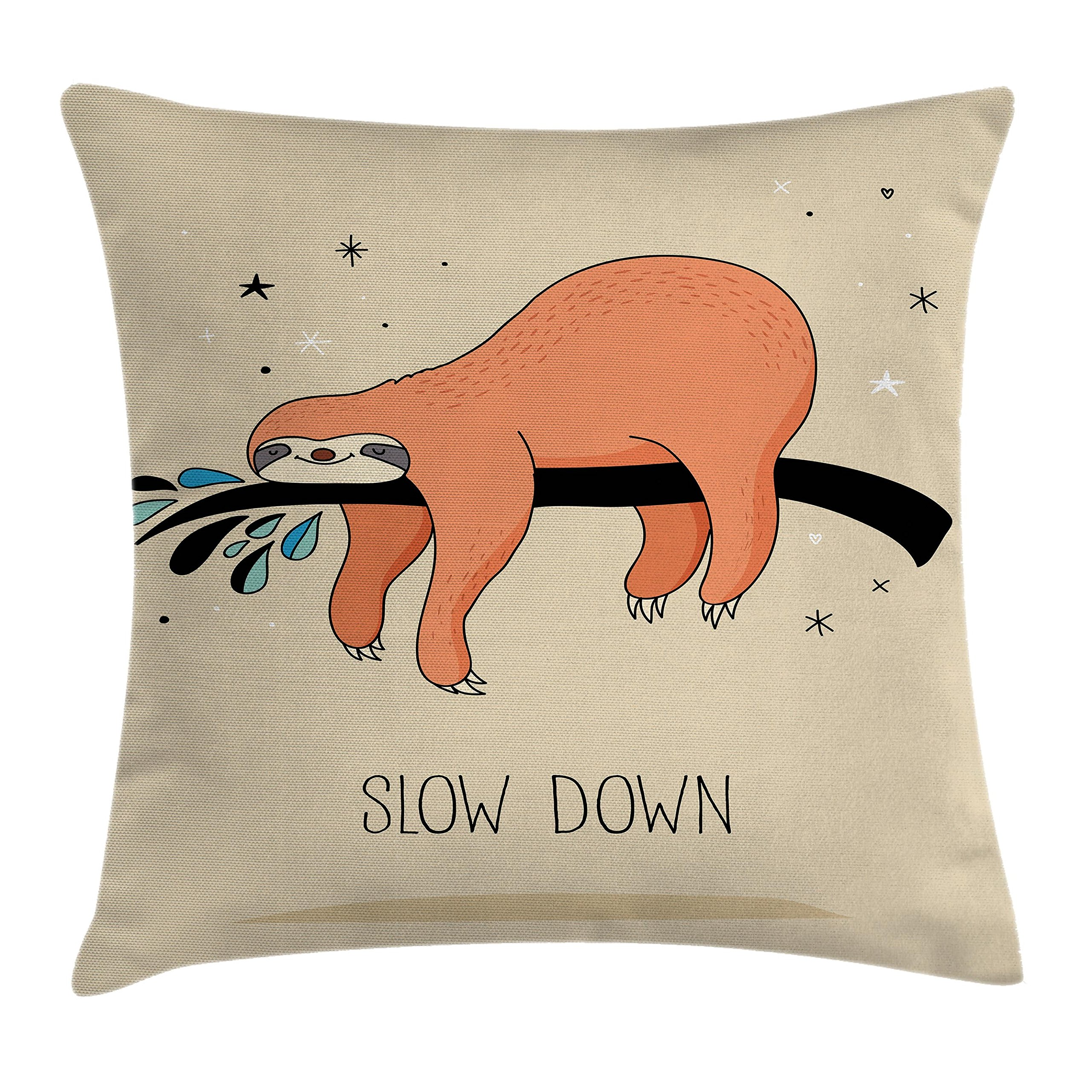 Ambesonne Animal Decor Throw Pillow Cushion Cover, Sleeping Big Bear Sloth Hanging on a Bench Cozy Lazy Wild Creature Image, Decorative Square Accent Pillow Case, 18 X 18 Inches, Multicolor
