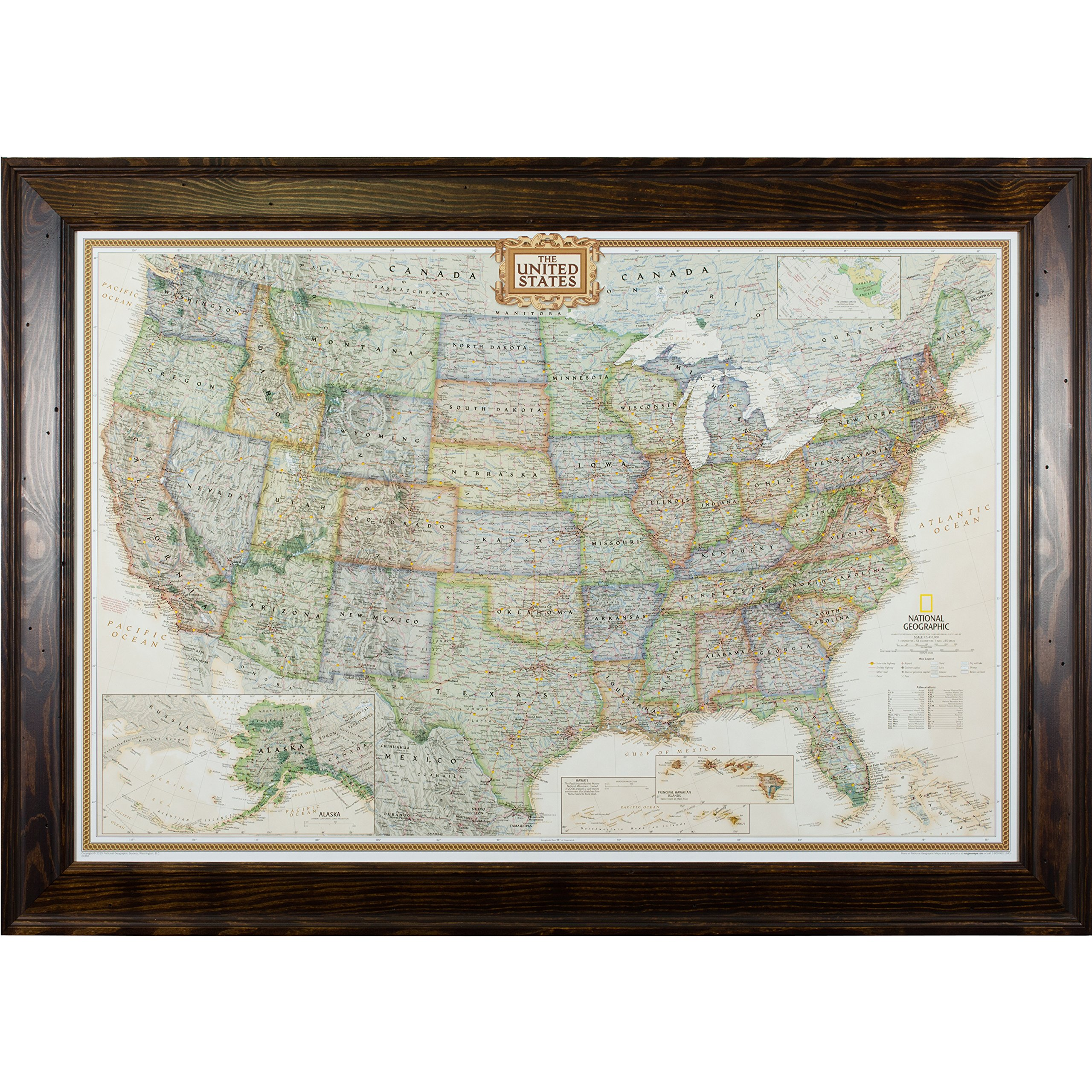 Craig Frames Wayfarer, Executive United States Push Pin Travel Map, Distressed Dark Brown Frame and Pins, 24 by 36-Inch