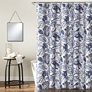 Lush Decor, Blue Cynthia Jacobean Shower Curtain-Fabric Floral Print Design,72 x 72