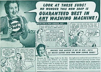 Amazon com : Super Suds, 40's Print Ad  B&W Illustration