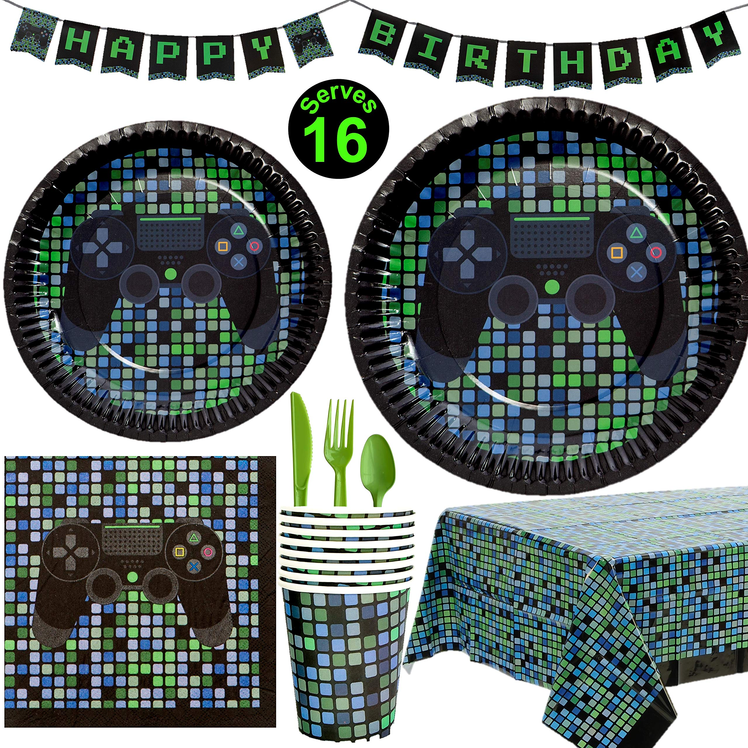 Crafted Pack Video Game Party Supplies - Plates, Cups, Napkins, Happy Birthday Banner, Table Cover, Utensils Pack - 16 Guests - Controller Gamming Themed Birthday Decorations for Boys by Crafted Pack