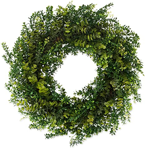The Wreath Depot Arbor Artificial Boxwood Wreath 22 Inch Year Round Full Green Wreath Approved For Outdoor Display Beautiful Gift Box Included Kitchen Dining