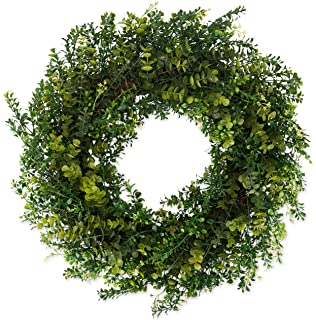 Arbor Artificial Boxwood Wreath 22 Inch  Full Designer Quality Outdoor  Wreath Lasts For Years,