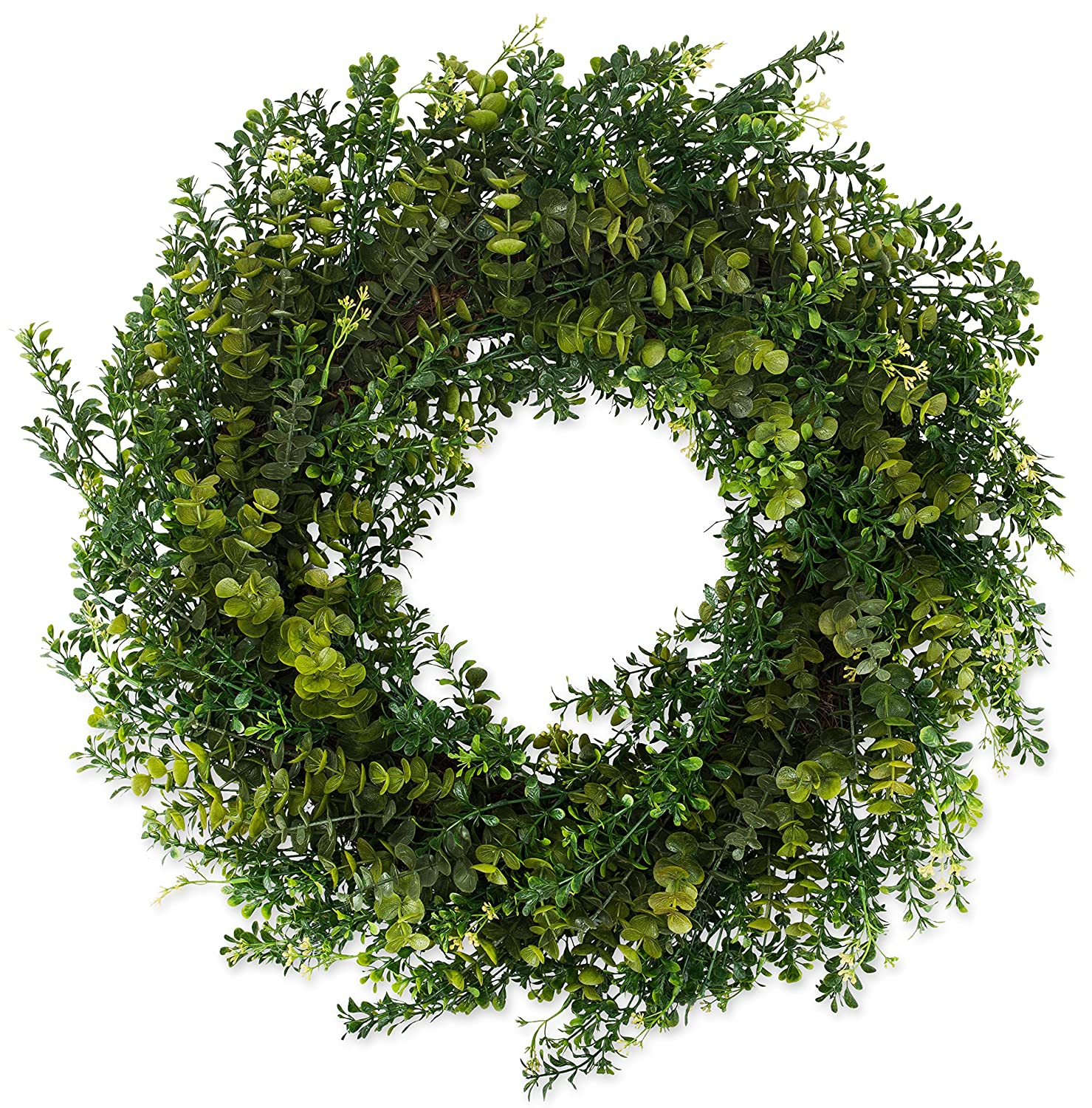 Arbor Artificial Boxwood Wreath 22 Inch- Full Year Round Outdoor Wreath Lasts for Years, Measures True to Size and Looks Great from The Street, Beautiful White Gift Box Included The Wreath Depot