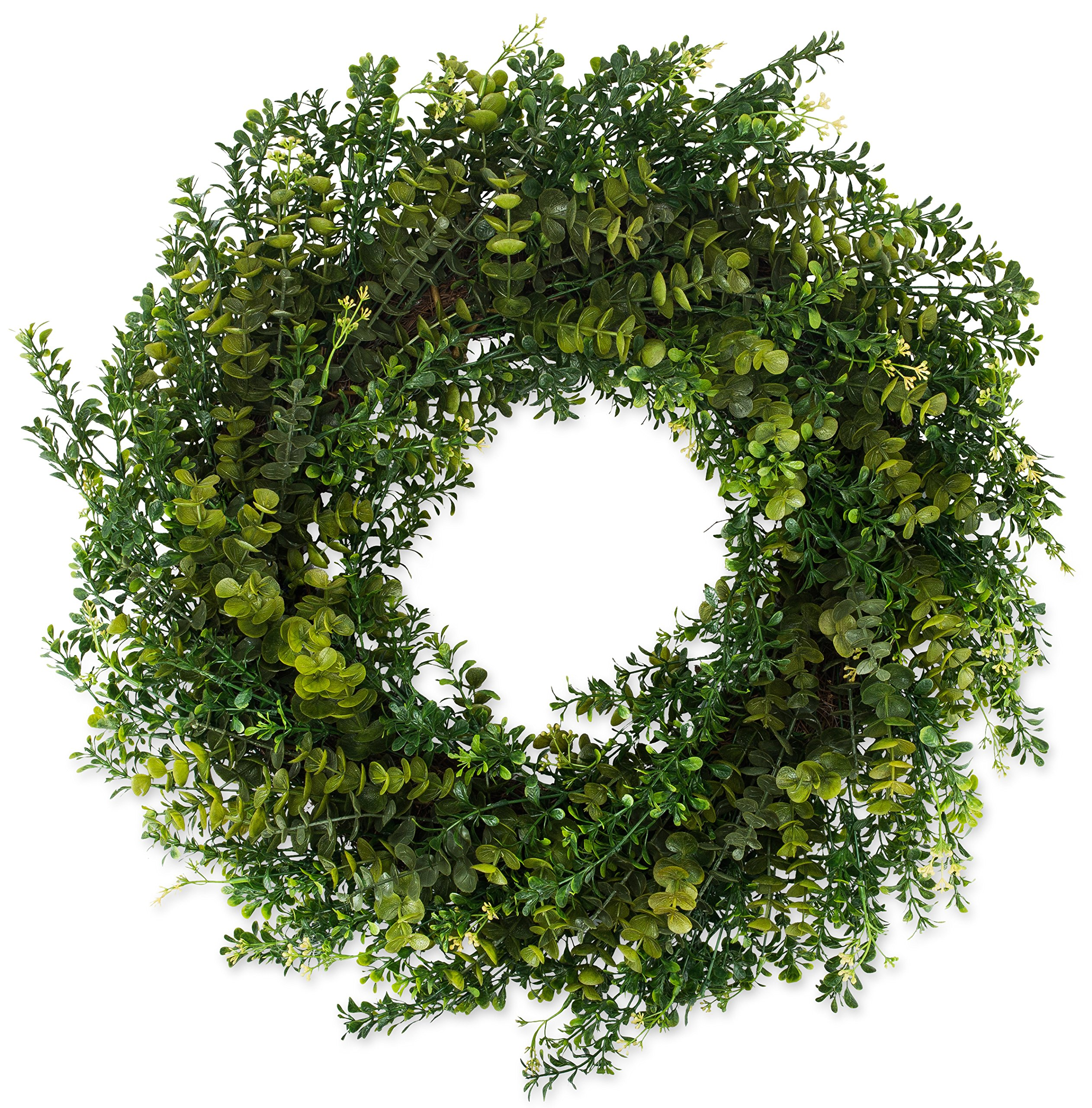 The Wreath Depot Arbor Artificial Boxwood Wreath 22 Inch, Year Round Full Green Wreath, Approved for Outdoor Display, Beautiful Gift Box Included by The Wreath Depot