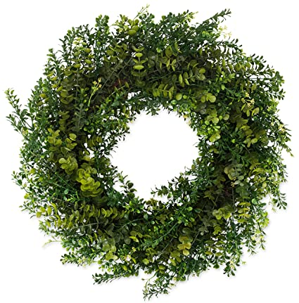52456cedfed5 Amazon.com: The Wreath Depot Arbor Artificial Boxwood Wreath 22 Inch, Year  Round Full Green Wreath, Approved for Outdoor Display, Beautiful Gift Box  ...