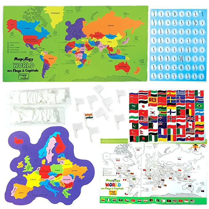 Buy Imagimake Kids Mapology World Toy with Flags and Capitals ... on