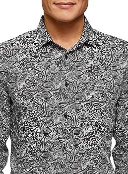 oodji Ultra Hombre Camisa Slim con Estampado Paisley, Gris, 37: Amazon.es: Ropa y accesorios