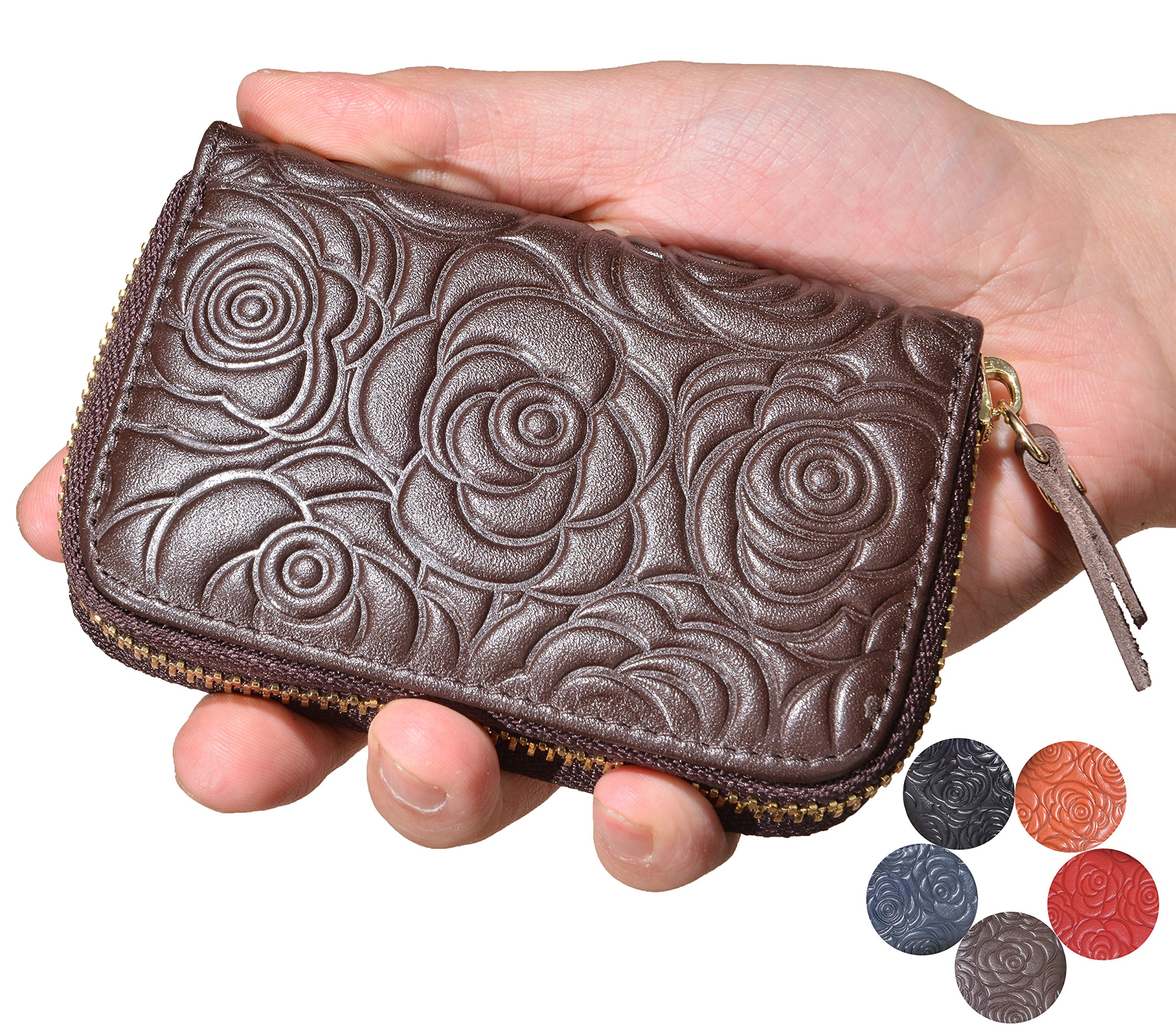 Beurlike Women's Floral Leather Credit Card Holder RFID Security Small Wallet (Coffee) by Beurlike (Image #1)