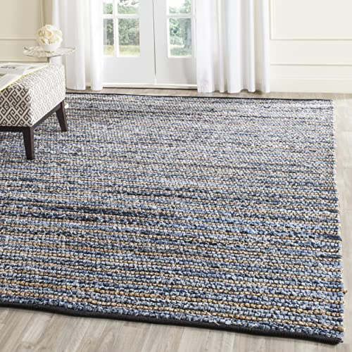 Safavieh Cape Cod Collection CAP363A Hand Woven Blue and Natural Jute and Cotton Area Rug 3 x 5
