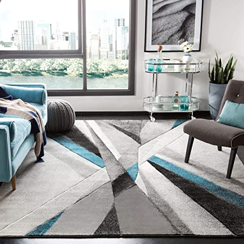 Safavieh Hollywood Collection HLW710D Grey and Teal Mid-Century Modern Abstract Area Rug 8 x 10