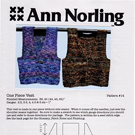 Amazon Ann Norling Pattern 14 One Piece Vest Arts Crafts