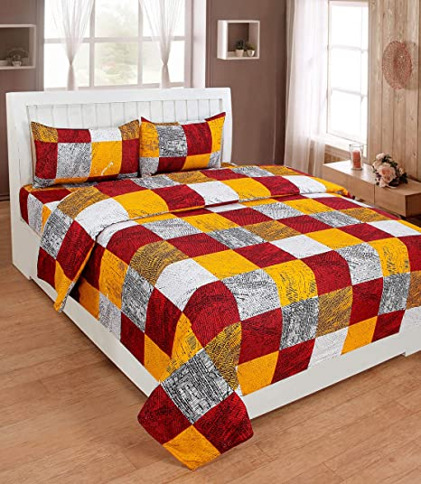 Homefab India Poly Cotton 3D HD Printed Bedsheet with 2 Pillow Covers - 88x88-inch, Maroon and Yellow
