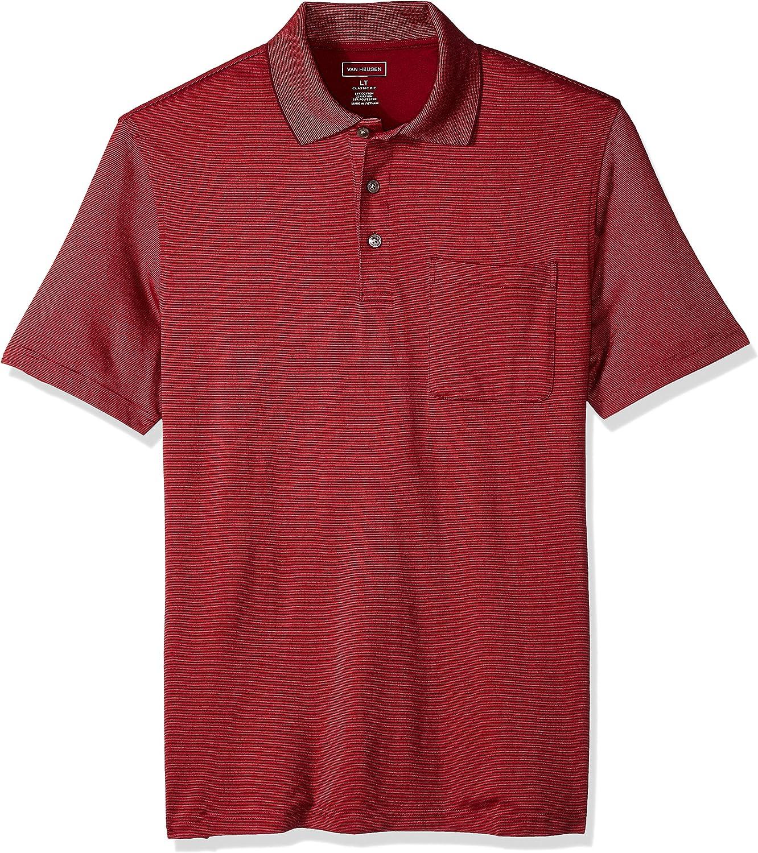Van Heusen Mens Size Big and Tall Jacquard Stripe Short Sleeve Polo