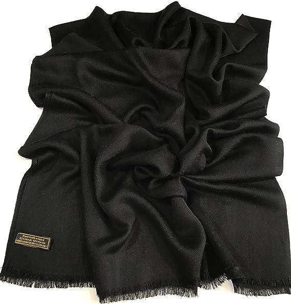 94e8f64155a Black Solid Color Design Fringe Shawl Scarf Wrap Stole Pashmina CJ Apparel  NEW