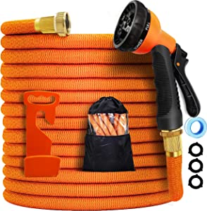 Garden hose expandable -75ft expandable hose, leakproof lightweight lxpanding garden water hose 3-layers latex,best choice for watering and washing(orange, 75ft)
