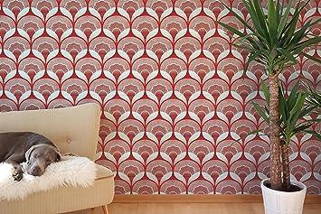 U0027u0026quot;Art Deco Papier Peint Papier   Noir/Rouge/Vert   Vintage