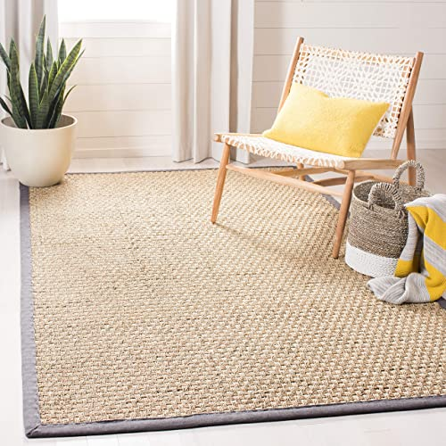Safavieh Natural Fiber Collection NF114Q Basketweave Natural and Dark Grey Summer Seagrass Area Rug 4 x 6
