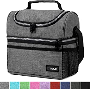 Insulated Dual Compartment Lunch Bag for Men, Women   Double Deck Reusable Lunch Box Cooler with Shoulder Strap, Leakproof Liner   Medium Lunch Pail for School, Work, Office (Heather Gray)