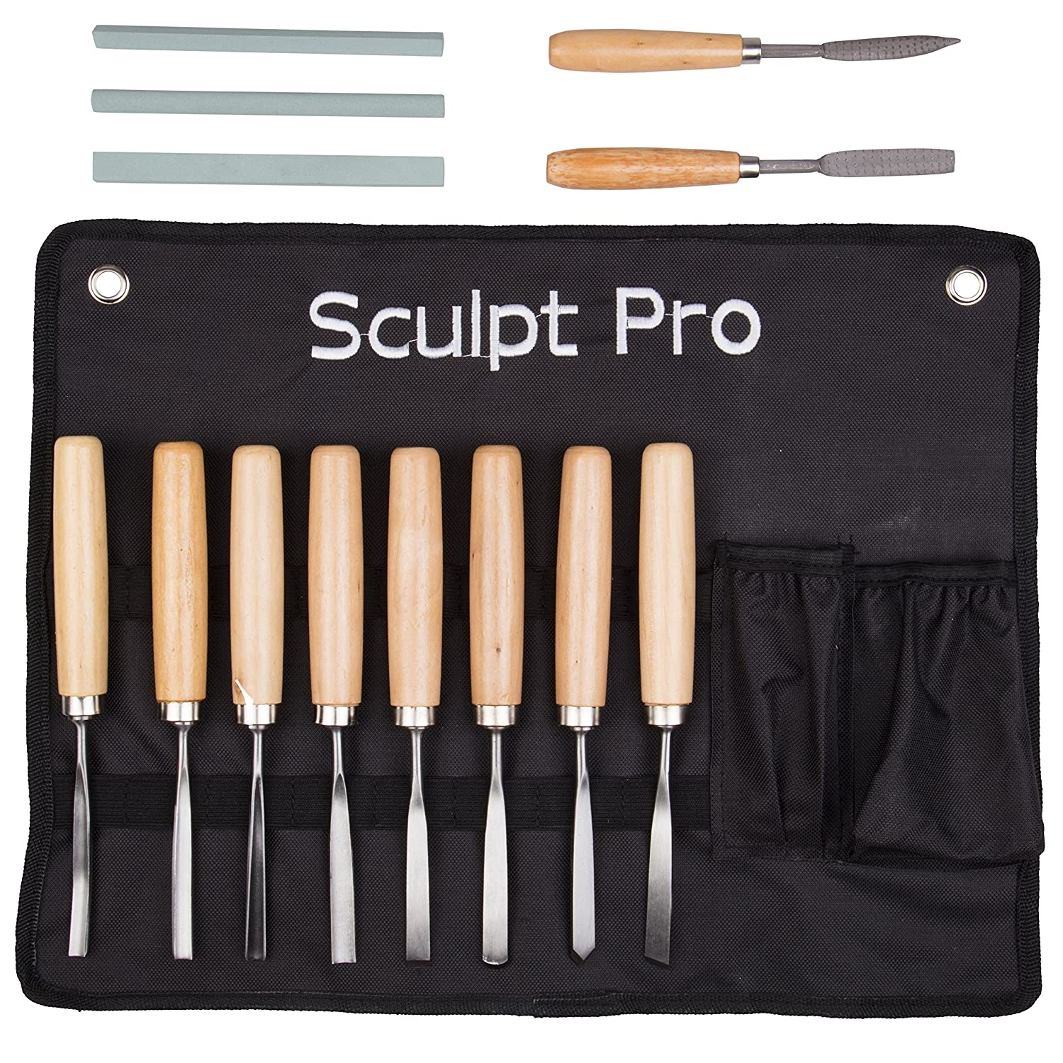 Wood Carving Chisel Set- 13 pc Professional Wood Carving Tools with Carrying Case Sculpt Pro PTK_13CH238
