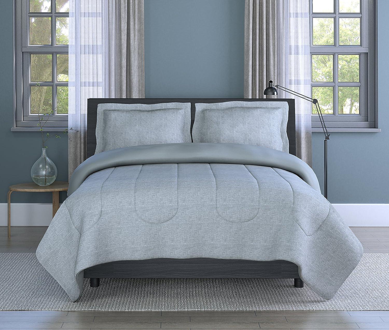 Inspired Surroundings Grey Grid Queen Comforter Set