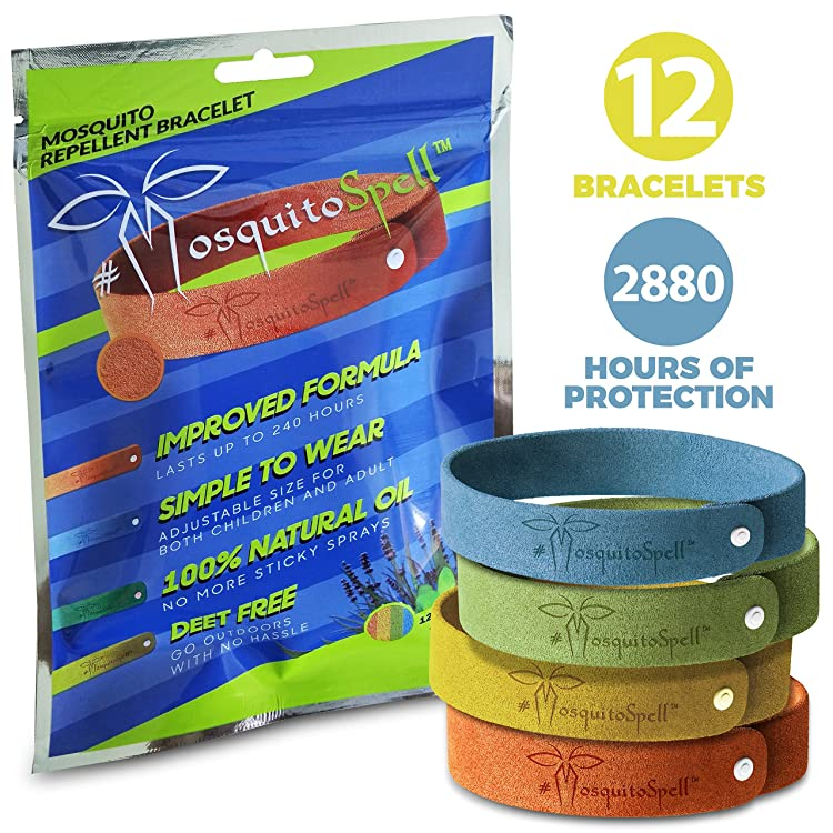 Mosquito Repellent Bracelet 12pcs, 100% All Natural Plant-Based Oil, Non-Toxic Travel Insect Repellent, Safe Deet-Free Band
