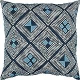 "Rivet Mid-Century Diamond Pillow, 17"" x 17"" , Blue"