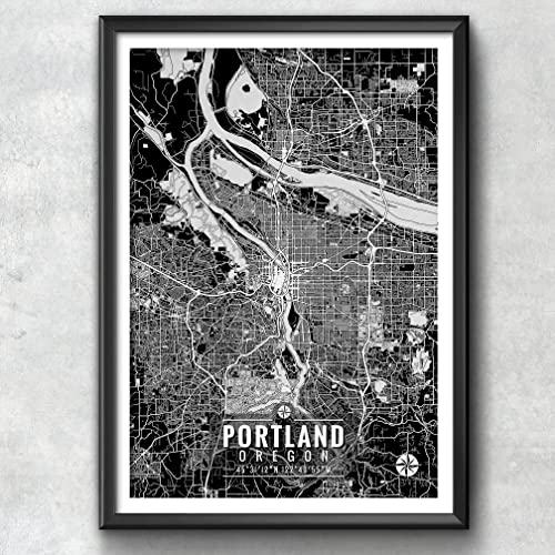 Portland Oregon Map with Coordinates, Portland Map Art, Portland Wall Art, Portland Map, Map Art, Map Print, Portland Print, Portland Art, Portland Gift, Map