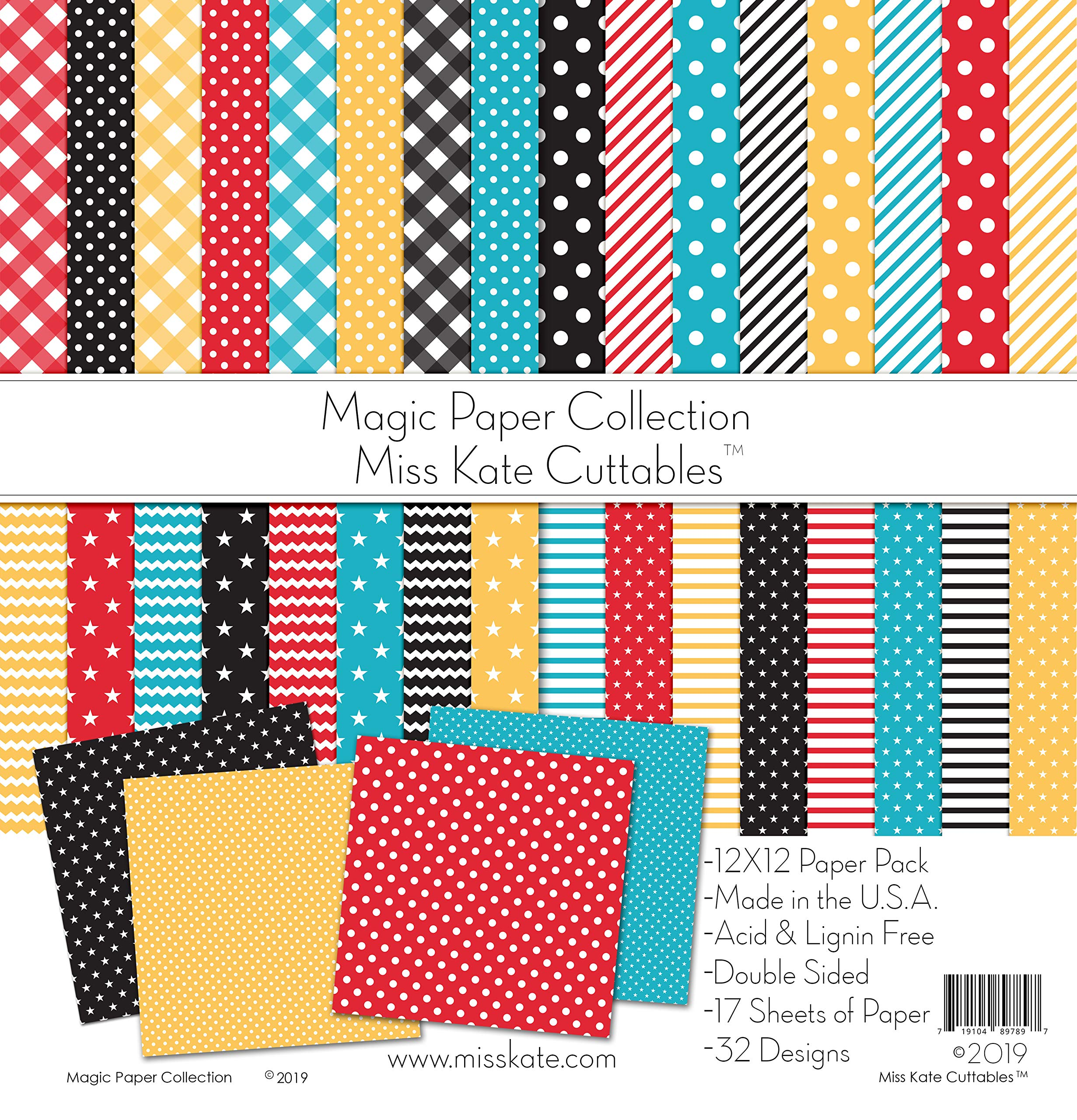 Pattern Paper Pack - Magic Basics - for Disney - 17 Double-Sided 12''x12'' Collection Includes 34 Patterns - Scrapbooking Card Making Crafting - by Miss Kate Cuttables