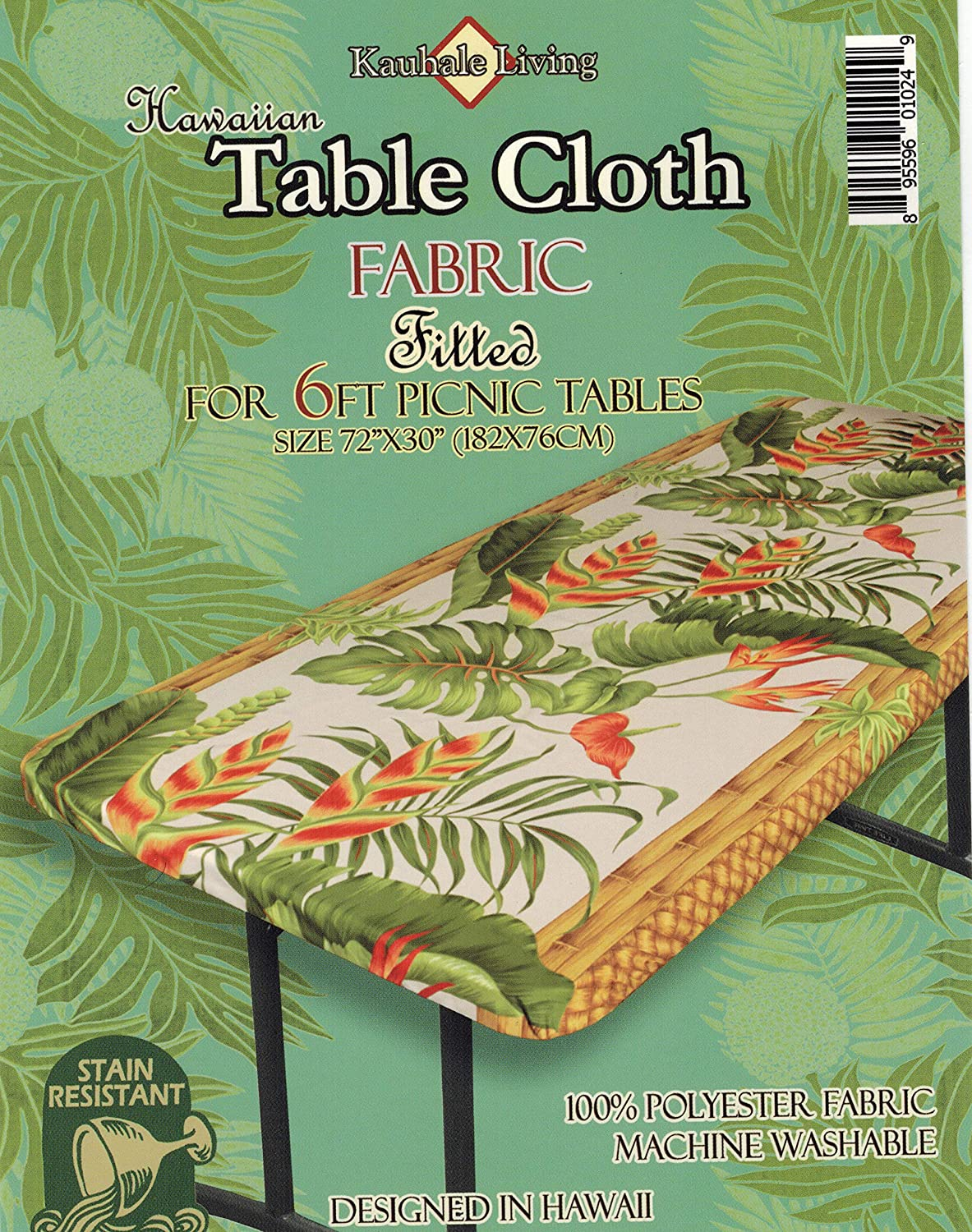 """one red and one blue Hawaiian Fitted Picnic Tablecloth Fits 6 feet 72x30/"""""""