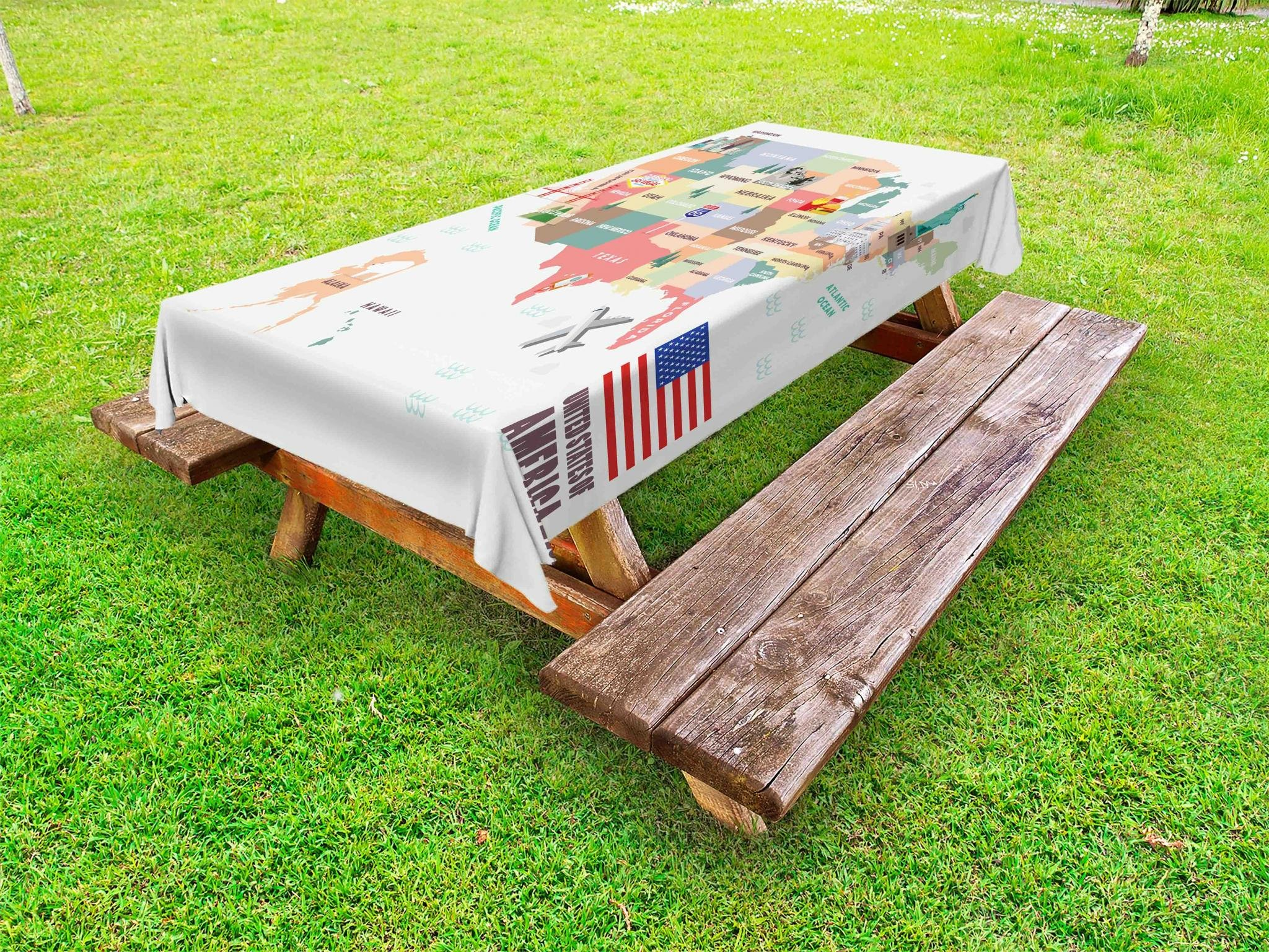 Lunarable Route 66 Outdoor Tablecloth, Map of The United States of America with Famous Attractions of The Country Print, Decorative Washable Picnic Table Cloth, 58 X 104 inches, Multicolor