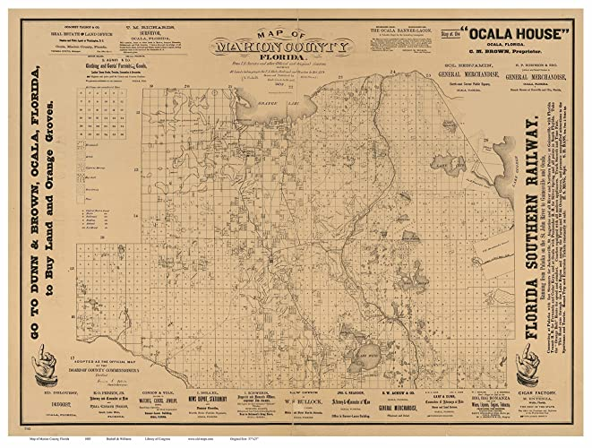 Marion County Florida Map.Amazon Com Marion County Florida 1883 Wall Map With Homeowner Names