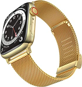 Geoumy Bands Compatible with Apple Watch Band 38mm 40mm, Stainless Steel Milanese Mesh Loop Replacement Men Women Strap for iWatch Series SE/6/5/4/3/2/1,Gold