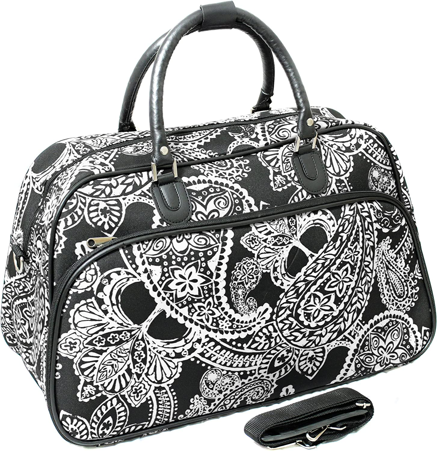 World Traveler 21 Inch Carry On Shoulder Tote Duffel Bag Black White Paisley One Size Travel Duffels
