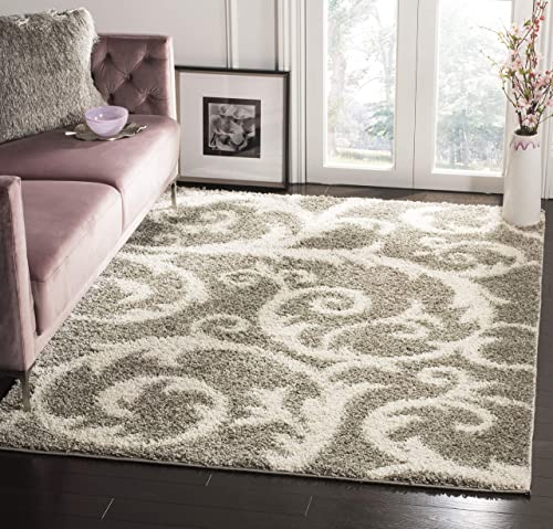 Safavieh New York Shag Collection SG167C Scroll 1.18-inch Thick Area Rug