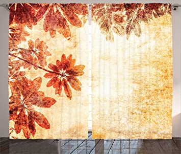 Amazing Burnt Orange Decor Curtains By Ambesonne, Dated Leaves Pattern On Vintage  Setting Papyrus Nature Autumn