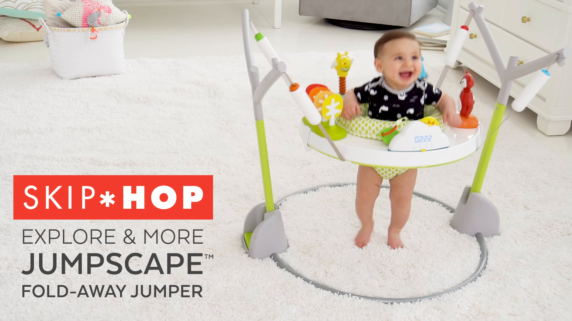 Multi Skip Hop Baby Bouncer Explore /& More Jumpscape Fold-Away Jumper with Bounce Counter