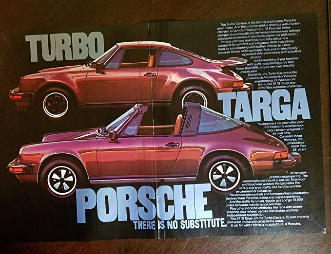 Magazine Print ad: 1976 Red Porsche 911S Targa and Turbo Carrera, 2 pages