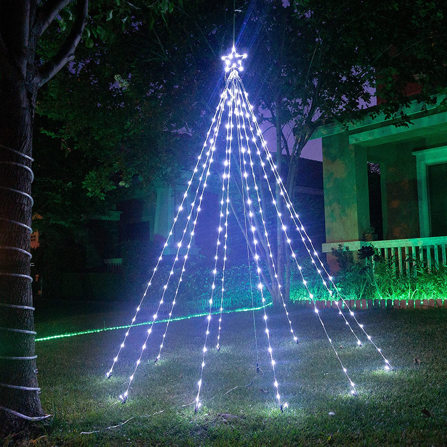 Amazon Com Tang Led Waterfall Christmas Cone Tree Lights With Star String Fairy Curtain Lights For Party Wedding Patio Indoor Outdoor Decorative Water Flow Lights 8ft X 5ft Cool White Garden